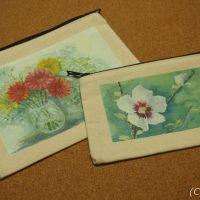 アートなお花のキャンバスフラットポーチ