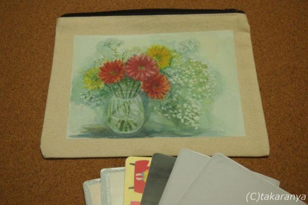 お花のキャンバスフラットポーチMサイズ